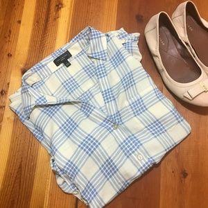 The Limited Ashton Blue White Plaid Button Shirt